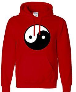 yin yang logo red hoodie