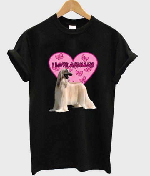 i love afghans dog t-shirt